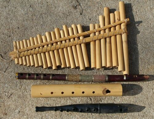 4 VINTAGE BAMBOO PAN PIPE FLUTE WIRE WRAPPER MOUTH FLUTE PLASTIC CONN SONG LOT