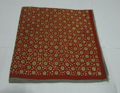 """Japanese Furoshiki Cloth Wrapping Scarf Tapestry 19"""" Cotton Red Floral Pattern"""