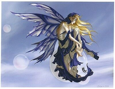 Nene Thomas Fairy Print Blue Dream Bubble Rider Faery Sky Clouds