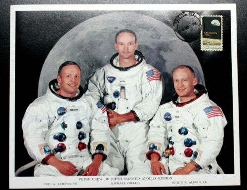 APOLLO 11 PRIME CREW NASA PHOTO 8C APOLLO 8 STAMP CANC JULY 20,1969 ORIGINAL