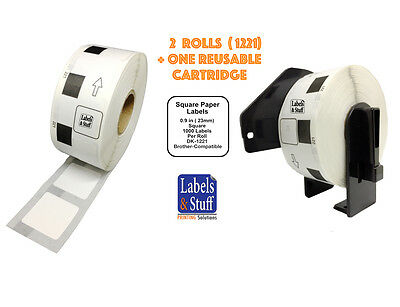 2 Rolls Dk-1221 Brother-compatible Square White Paper Labels Reusable Cartridge