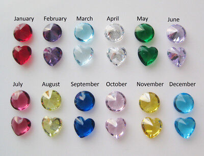 Birthstone Round or Heart CZ Glass Crystal for Floating Charm Locket