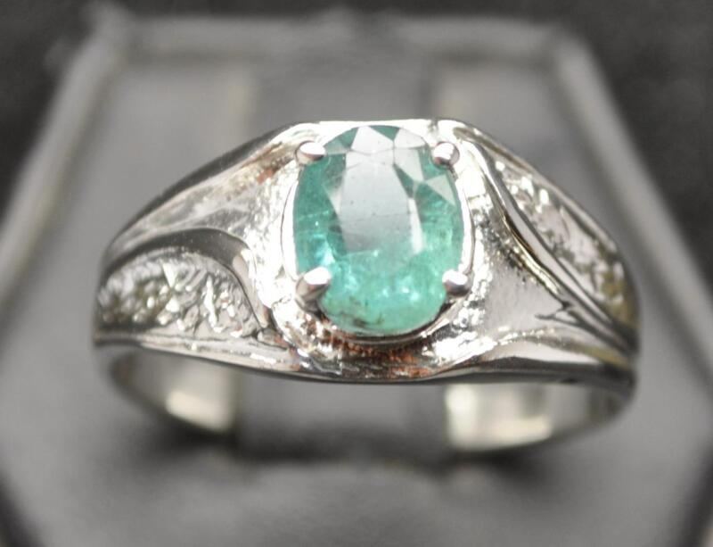 1.55 CT BLUISH NATURAL EMERALD .925 STERLING SILVER MENS RETRO RING SZ 11.5 NEON