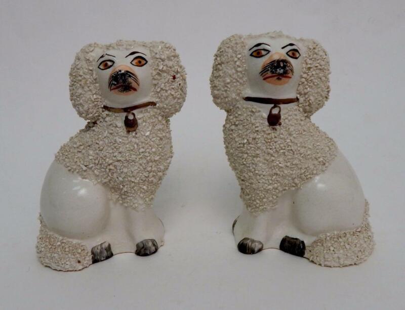 Antique 19th C. Victorian Pair of Staffordshire Spaniel Dog Statue Figures