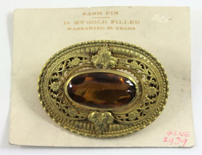 Antique c1915 18KGF Topaz Colored Stone Mix Cut Sash Pin Brooch on Original Card