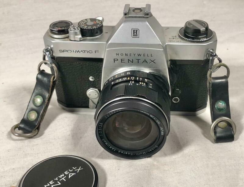 VTG HONEYWELL PENTAX SPOTMATIC F 35MM FILM CAMERA W/ TAKUMAR 1:3.5/28 LENS R&P