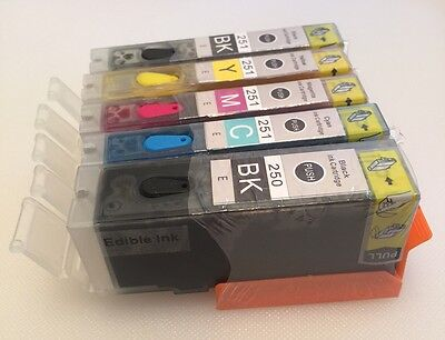 5PK EDIBLE Canon PGI-250XL+CLI-251XL BCMY INK FOR PIXMA MG5520 MG6620 MX922