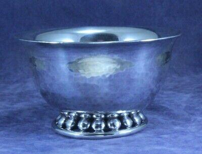 Vintage Nekrassoff - Bold Design Silver Plate Bowl - Hammered Beaded Foot