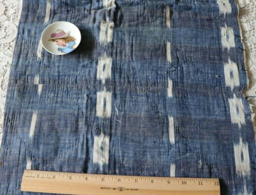 French Antique Indigo Woven Ikat Quilted Fabric Piece~L-32
