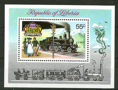 LIBERIA 1973 SWISS STEAM LOCOMOTIVE MINIATURE SHEET SG MS 1155 MNH