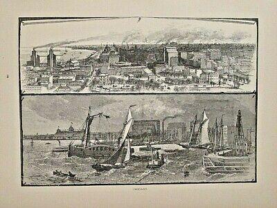 Chicago, IL.  City View, Lake Michigan, Birdseye, Vintage 1874 Antique Art Print