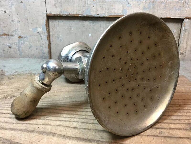 """Antique Speakman 4"""" Nickel Brass Shower Head - Used"""
