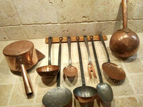 Set 7 Copper Utensils Iron Handles & Rack Havard Villedieu France W/2 Sugar Pots