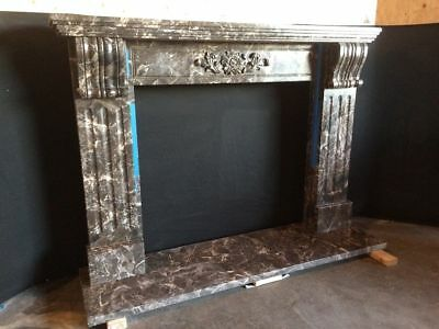 "Black Marble Mantel – Corbel – Hand Carved Stone Mantle – IN STOCK - 75"" wide"