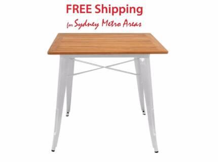 SALE - Xavier Pauchard Style Teak Wood Tolix Table (80 cm)