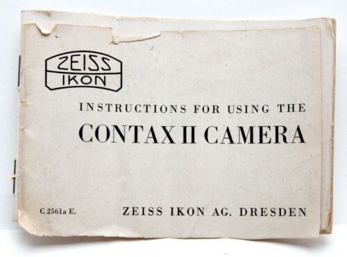 Instructions For Using The Contax II Camera #P4337