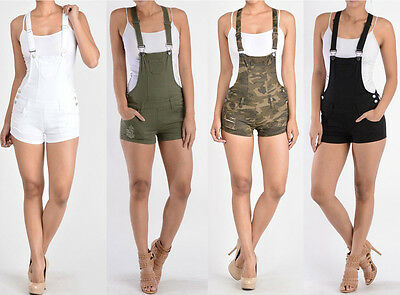 G-Style USA Women's Ripped Jumpsuit Romper Overalls Short Pants RJSO115-TIC