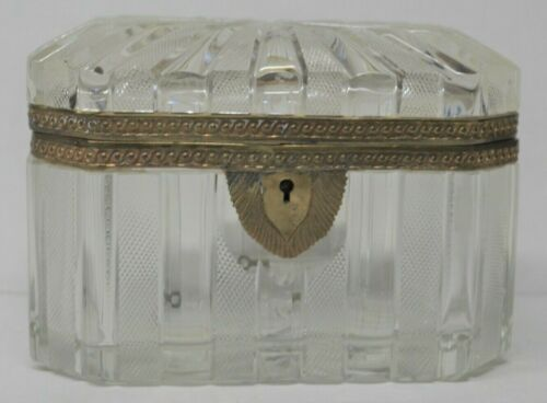 French Baccarat Styled Deep Hand Cut Crystal Octagon Shaped Box