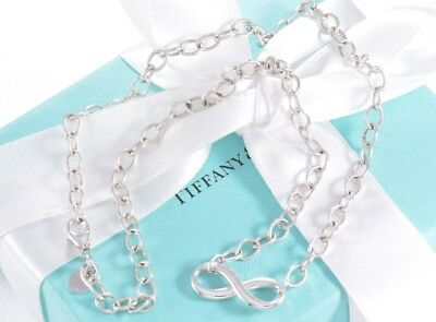"""$350+ Tiffany & Co Silver Infinity Large Heavy Link 18"""" Necklace Retails BOXED"""