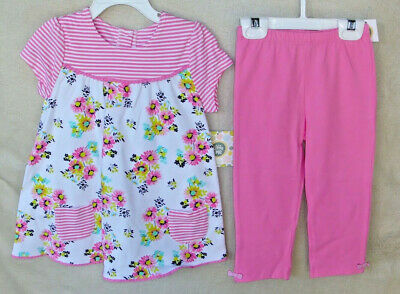 LITTLE ME Pink Floral 2 pc TUNIC SET with Capri Leggings GIRL SIZE  4 TOD NWT