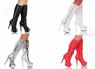 Amber-91 platform 6 inch high heel sexy open toe knee high lined boots