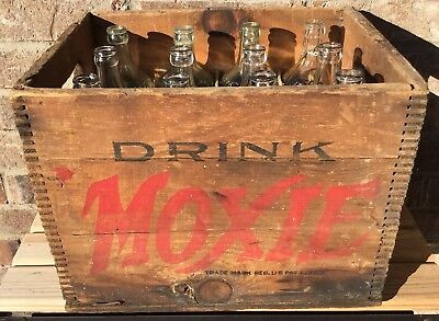Antique Wood Box Crate For Moxie With 12 Original Pint Bottles