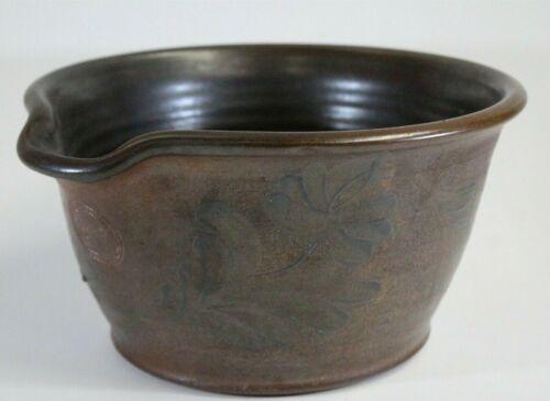 Vintage Crocker & Springer Salt Glazed Brown Blue Floral Spout Stoneware Bowl