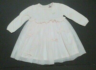 INFANT GIRLS LILI GAUFRETTE PINK KNIT & TULLE BOW DRESS SIZE 6 MONTHS