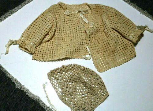 Vintage Crocheted Baby or Doll Sweater and Bonnet