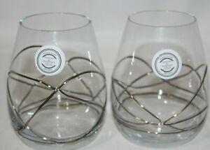 Romania Wine Glass Pair Stemless Wine Glass Set Stil Glass Gold Green New