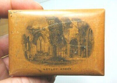 ANTIQUE MAUCHLINE SMALL WOODEN TRINKET  BOX NETLEY ABBEY SOUTHAMPTON