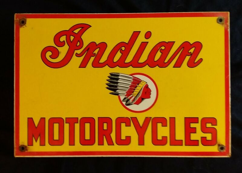 VINTAGE INDIAN MOTORCYCLES PORCELAIN ADVERTISING SIGN