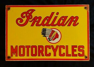 VINTAGE INDIAN MOTORCYCLES PORCELAIN ADVERTISING SIGN