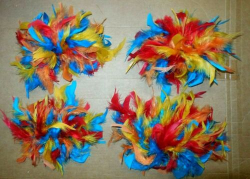 Lot of 2 Pairs Feather Wristlets on Elastic Band Tropical Bird Costuming