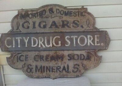 CITY DRUGSTORE Embossed Tin Sign CIGARS, ICE CREAM, SODA & MINERALS