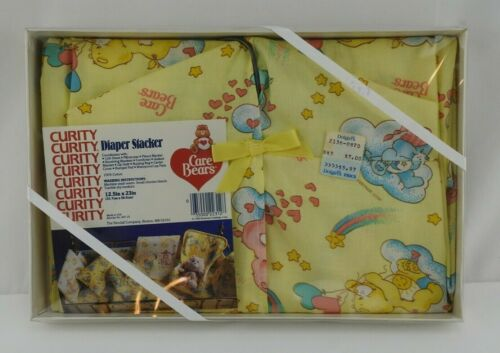 Vintage Care Bears Diaper Stacker Holder Yellow Curity New in Box 1983