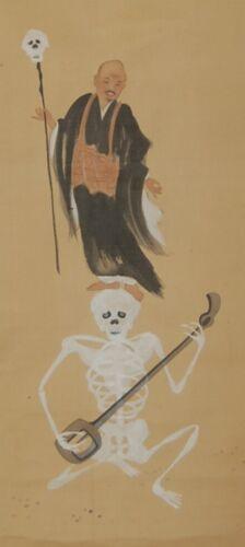 Scroll painting, monk Ikkyu dancing on top of skeleton wtih shamisen, Japan