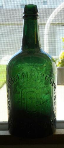 Beautiful Green Quart Congress & Empire Saratoga NY Mineral Spring Water Bottle