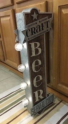 CRAFT BEER SERVED COLD LIGHT SIGN ARCADE GAME METAL VINTAGE LOOK ALE BREWERY