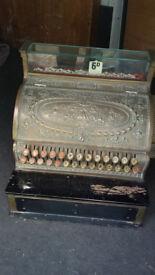 An Antique Brass National Cash Register