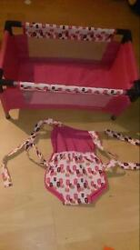 Mamas and papas dolls cot and sling
