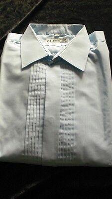 gut erh. hellbl. festliches Herrenhemd verdeckte Knopfleiste f.Manschettenknöpfe