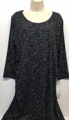 Liz Lange Maternity Ebony Black Space dye Dress XL NWT 3/4 Sleeve