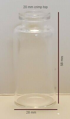 20ml Clear Serum Vials 28x58mm Square Shoulders 20 Mm Crimp Top Case Of 576