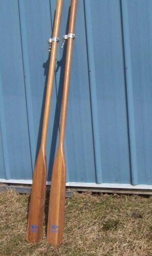 77  1/2  Inch Vintage WOOD OARS BOAT PAIR wall art cabin decor WITH OARLOCKS
