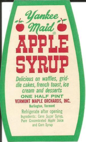 Label-YANKEE MAID Apple Syrup,Vermont Maple Orchards,Burlington,VT.melaneybuy