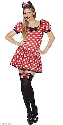 Kostüm Erwachsene Damen Maus Minnie Rot XS/S 36/38 Cartoon Disney (Neu&ovp)