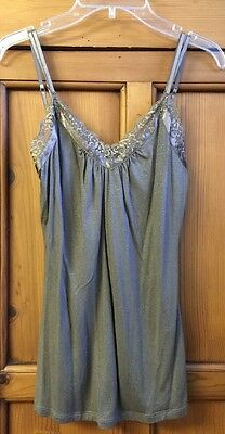 Express Size XS Gold Brown With Lace Trim Sparkle Soft Feel Cami Top EUC