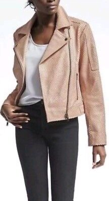 Light Pink Moto Jacket (NWT Banana Republic Womens Heritage Blush Leather Moto Jacket Light Pink M)