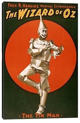 wizard of oz , tin man, stretched canvas art hanging 26in by 18 inch by .75 inch
